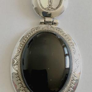 Pendentif pierre noire mixte Bijoux touaregs, pendentif articulé en argent massif et pierre d'obsidienne noire Bijoux mixte
